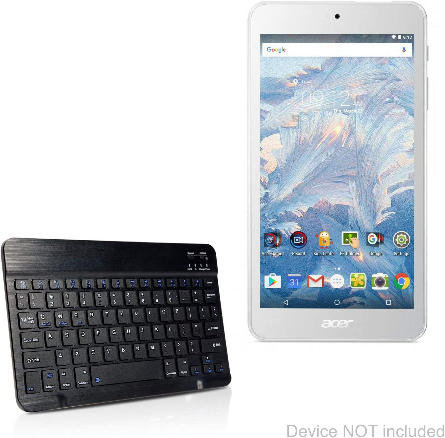 Acer Iconia One 8 B1-860 Keyboard, BoxWave [SlimKeys Bluetooth Keyboard] Portable Keyboard with Integrated Commands for Acer Iconia One 8 B1-860 - Jet Black