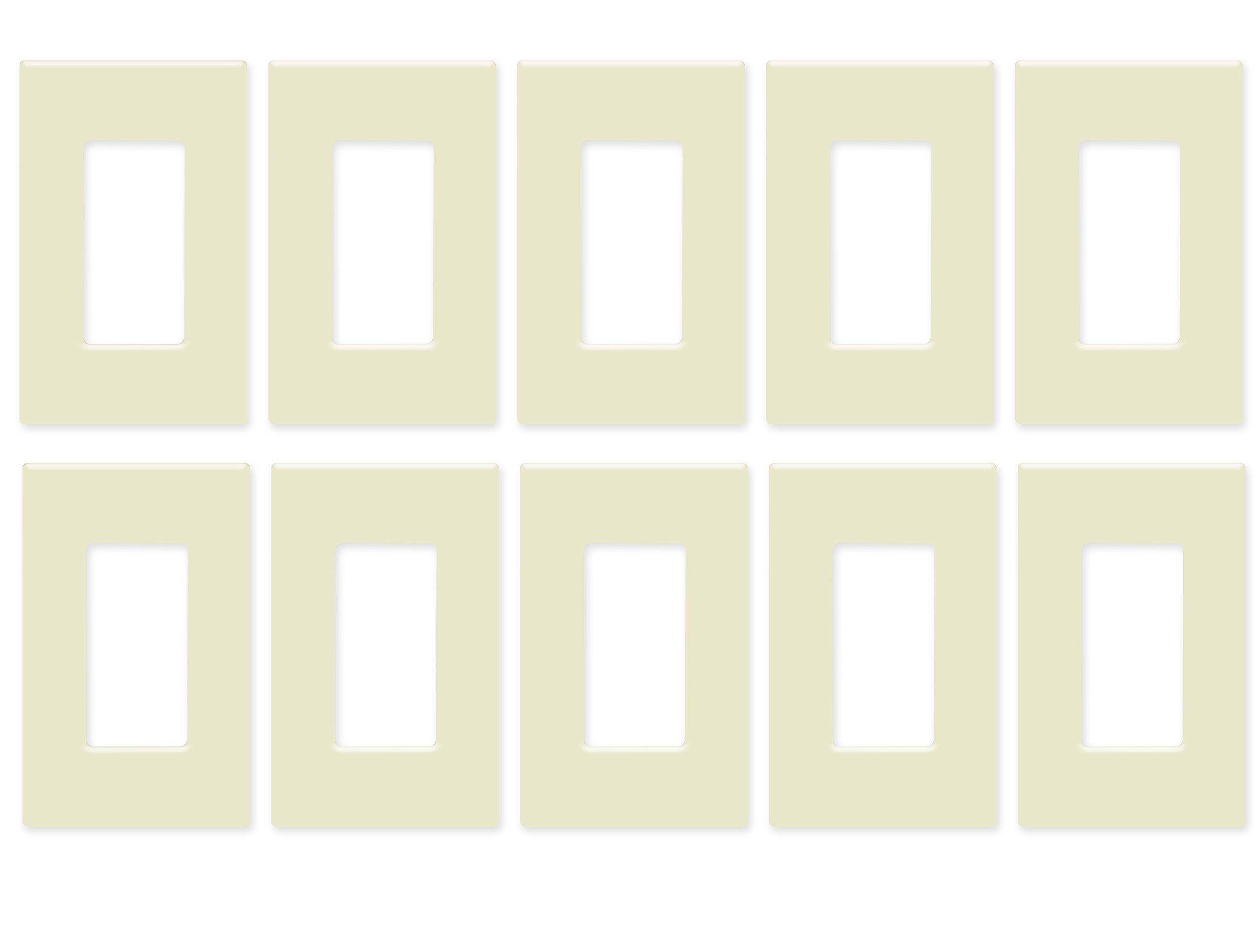 Enerlites SI8831-LA-10PCS Screwless Decorator Wall Plate Child Safe Outlet Cover, 1-Gang Standard Size, Unbreakable Polycarbonate Thermoplastic, Light Almond (10 Pack)