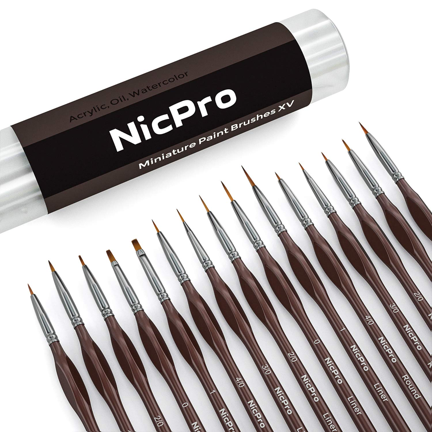 Nicpro Micro Detail Paint Brush Set,15 Tiny Professional Miniature Fine Detail Brushes for Watercolor Oil Acrylic,Craft Models Rock Painting & Paint by Number by Nicpro