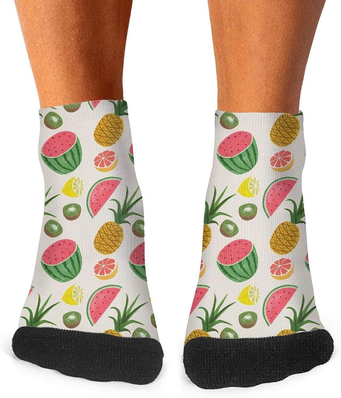 Floowyerion Mens Pineapple Watermelon Some Kiwi Fruit And Lots of Lemon Novelty Sports Socks Crazy Funny Crew Tube Socks