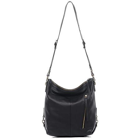 74c1d6f2b1 BACCINI Real Leather hobo Bag Paula Large Backpack Shoulder Bag Long  Shoulder Strap Women Men Black  Amazon.co.uk  Luggage