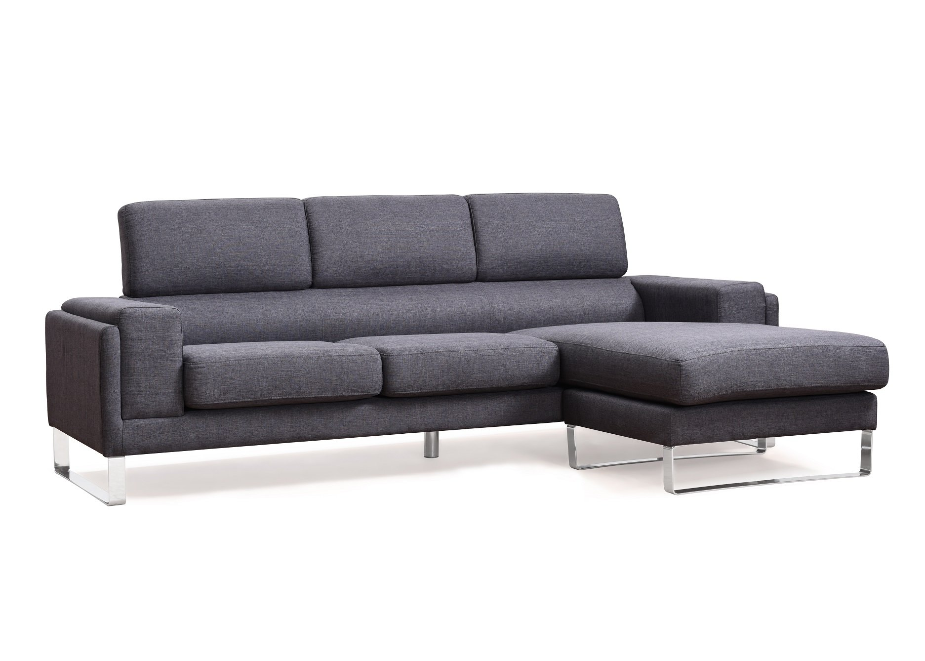 US Pride Furniture Modern Fabric Upholstered Reversible Sectional Sofa with Chaise and Chrome Leg Finish Charcoal by US Pride Furniture
