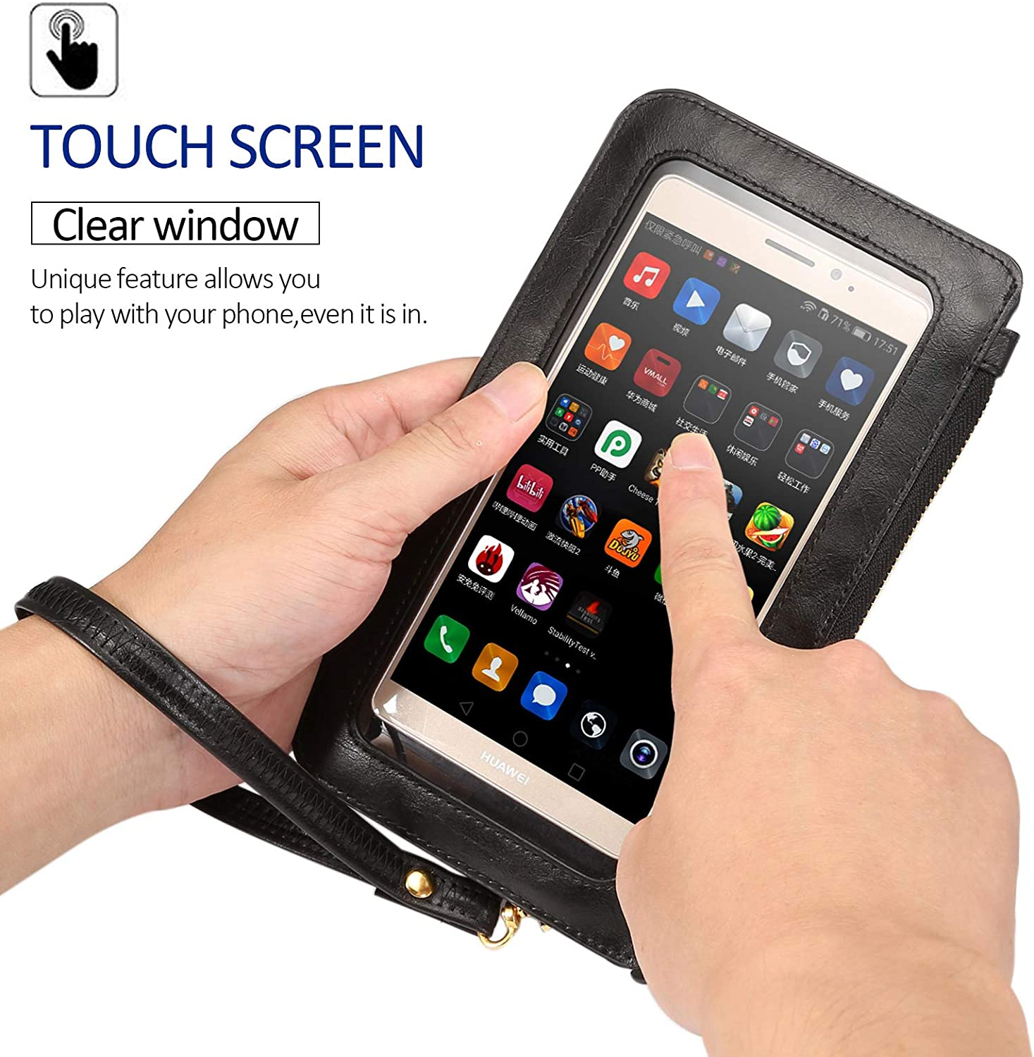 Black Techcircle Phone Pouch 2-Layer Pockets View Window Touch Screen Small Handbag for iPhone X//Xs//Xr//8 7 6 Plus Galaxy S7 Edge//Note 7 Cellphone Purse Crossbody Bag Moto Z2 Force//Play