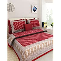 Ealth Kart 144 TC 100% Cotton Rajasthani Jaipuri Double Bedsheet with 2 Pillow Covers - Red