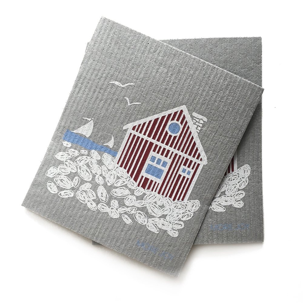 MORE JOY, Swedish Dishcloths, Scandi House, Set of 2, Gray