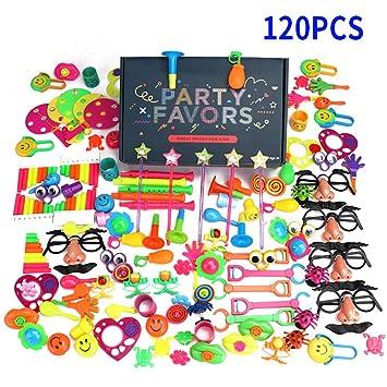 Juguetes de Fiesta a Granel 120PCS, Ideal Rellenar Bolsas de Fiesta, Piñatas 12 Juguetes en Muchos Colores para Fiestas de Cumpleaños Niños con Caja ...