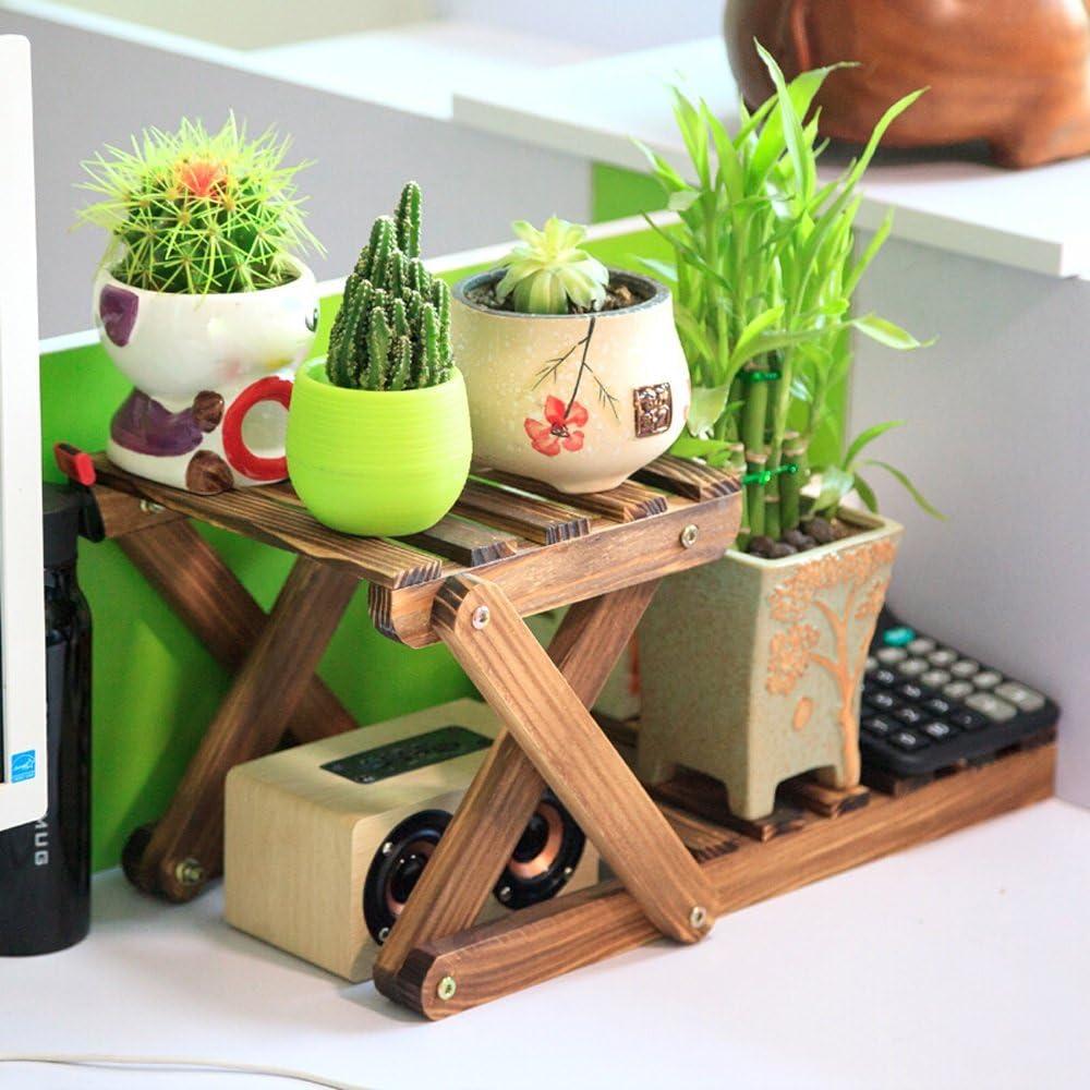 LI MING SHOP-Estante de flores WLM Stand Schreibtischablage | Massivholz-Pflanzengestell Blumenständer | 2 Schichten Haltbarer Halter Schreibtischblumenständer 42x21x21cm A+ (Color : A)
