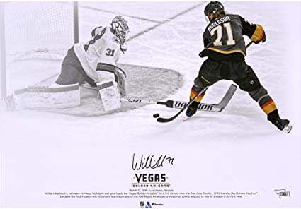 e7ab2a9c0 William Karlsson Vegas Golden Knights Autographed 16 quot  x 20 quot  Goal  Between Legs Spotlight Photograph