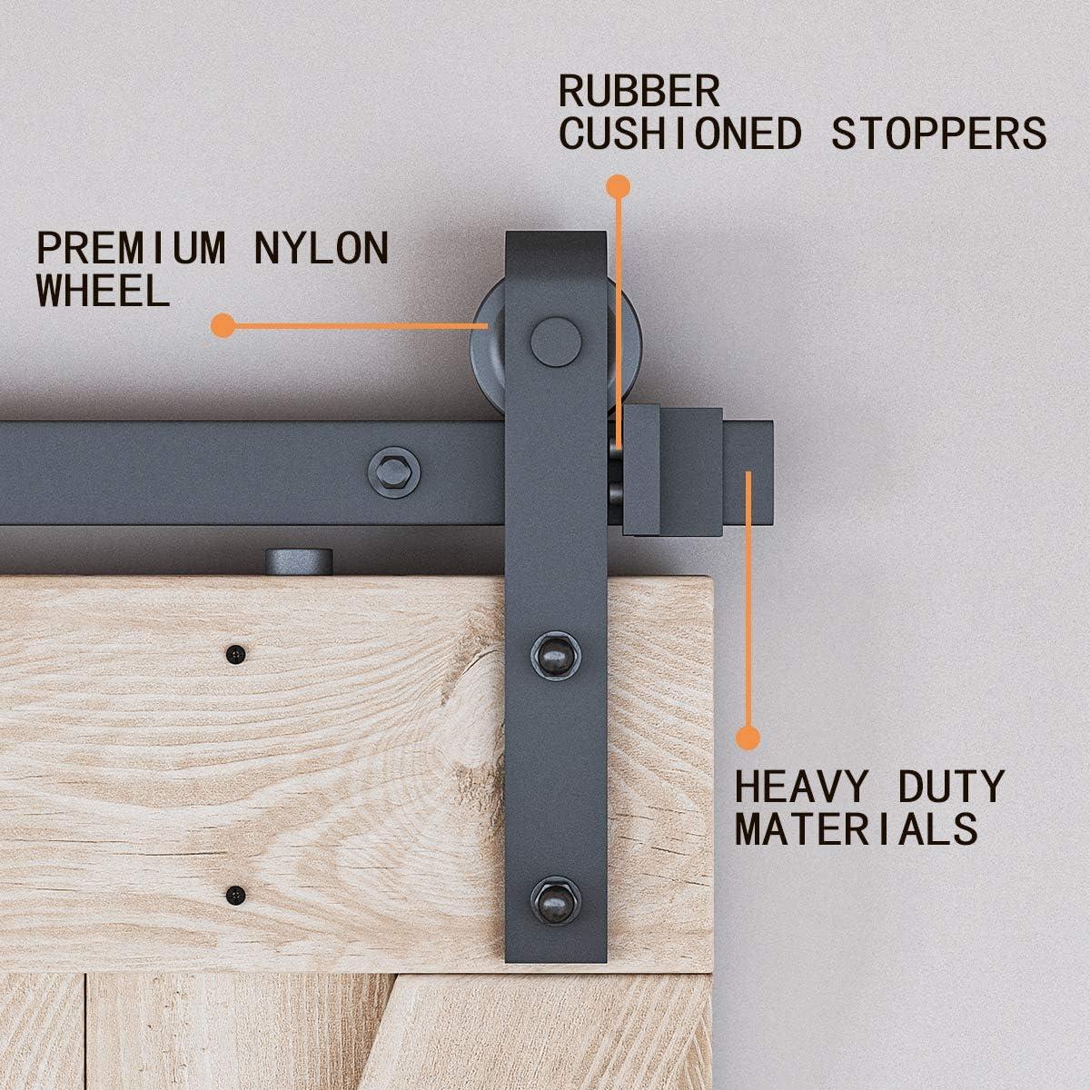 Fit 1 3//8-1 3//4 Thickness J-Shape Upgraded Nylon Hanger Living Room Black Easy to Install 30 Wide Door Panel Bathroom Perfect for Kitchen LDB/_Homer 6 Foot Sliding Barn Door Hardware Kit