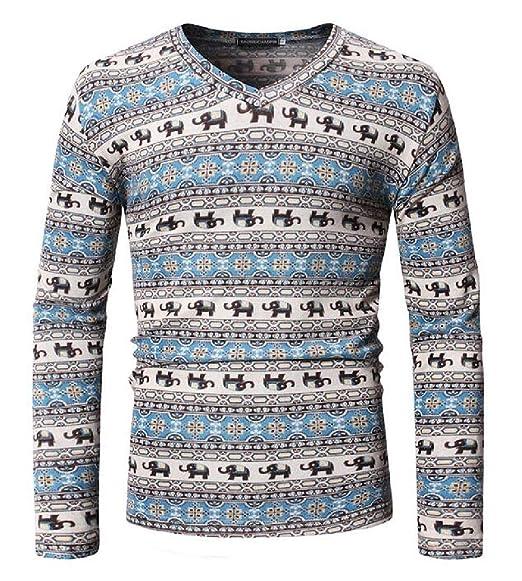59afda029 YYG Men's Casual Slim Fit Hip Hop Print V Neck Long Sleeve T-Shirt Tee