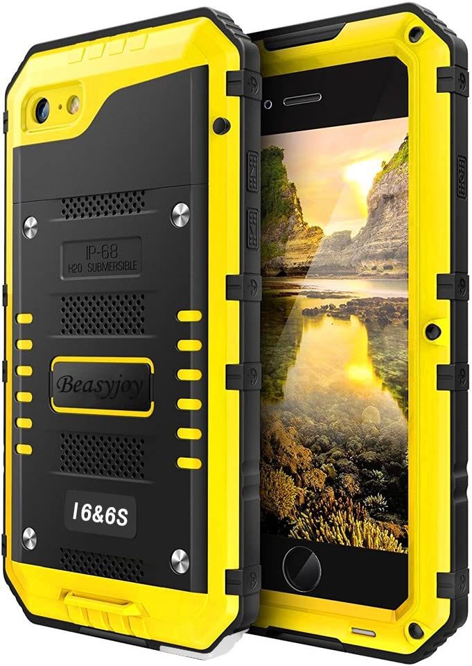 Beasyjoy iPhone 6 Case iPhone 6s Metal Case Heavy Duty with Screen Full Body Protective Waterproof Shockproof Dust Proof Tough Rugged Cover Bumper Military Grade Defender Yellow