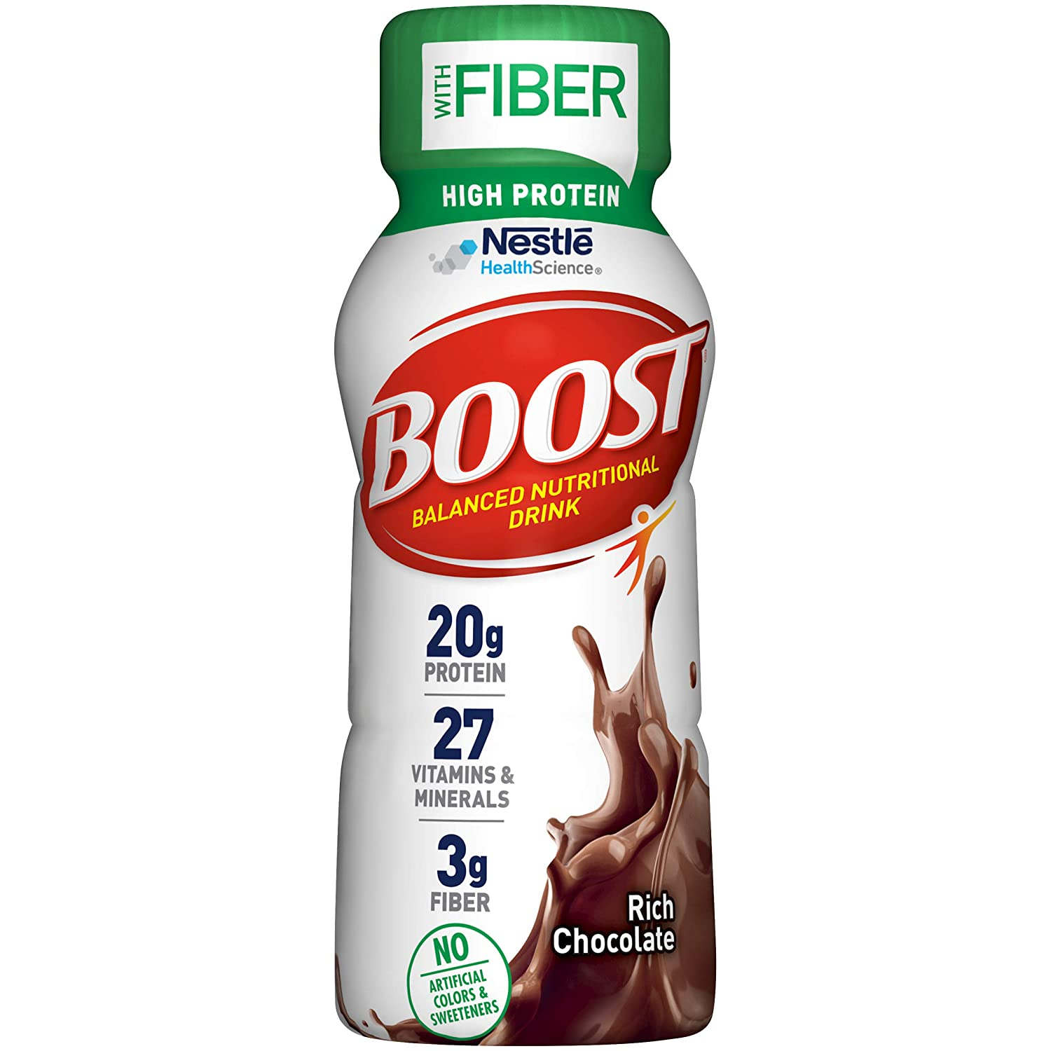 BOOST High Protein with Fiber Complete Nutritional Drink, Rich Chocolate, 8 Ounce Bottle (Pack of 24)