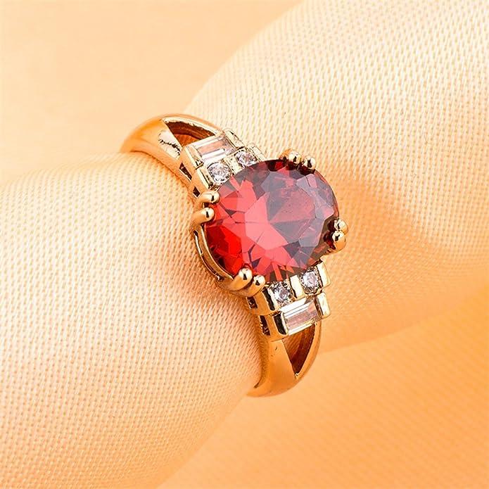 La vogue Anillo Solitaire engastada Zircon de cristal rubí falso compromiso alianza boda Mujer Regalo 9 #: Amazon.es: Joyería