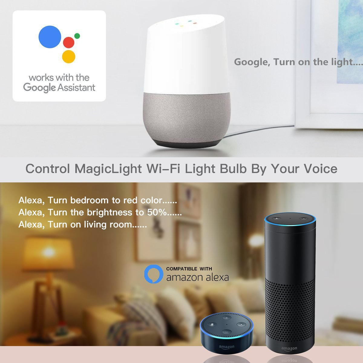 MagicLight WiFi Smart Light Bulb - Triangle Style - Dimmable Multicolored 60w Equivalent Sunset Sunrise Sleeping Night Lights - Compatible with Alexa & Google Home Assistant by MagicLight (Image #6)