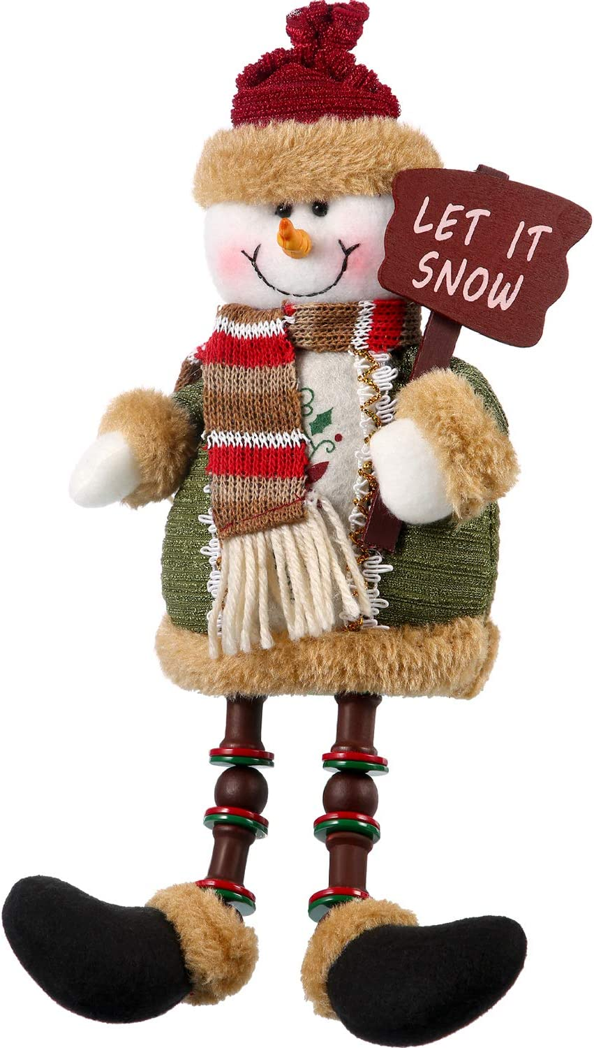 Sumind Christmas Decorations Sitting Snowman Christmas Ornament Long Legs Table Fireplace Decor Home Decoration Xmas Figurines