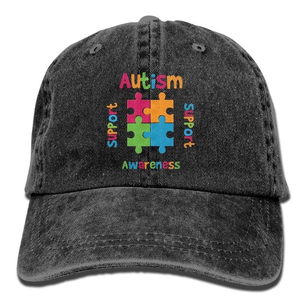 JTRVW Cowboy Hats Autism Awareness Support Love Adult Sport Adjustable Baseball Cap Cowboy Hat