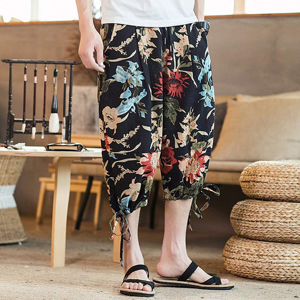 Mr.Macy Mens Casual Slim Sports Pants Calf-Length Linen Trousers Baggy Harem Pants