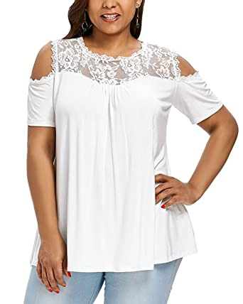 4a7761f9cf9 Amazon.com  Women Fashion Plus Size Blouse Cold Shoulder Short Sleeve Lace  Knit T-Shirt Pullover Tops  Clothing