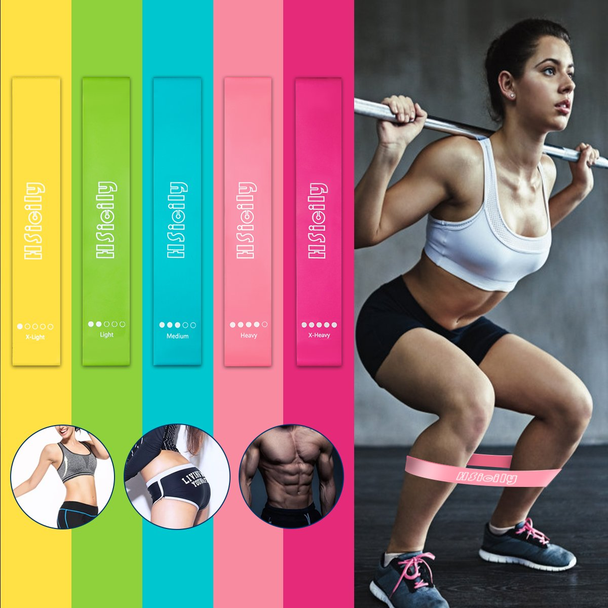 HSicily Resistance Loop Exercise Bands for Home Workout, Pilates, Yoga, Rehab, Physical Therapy with Carrying Bag, Set of 5 Different Levels, 12\