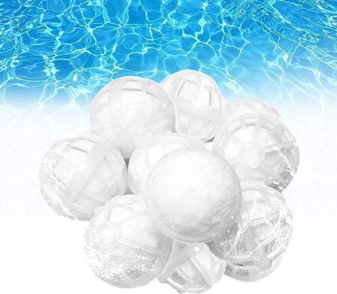 Outinhao Filtro de Bola de Piscina Extra Duradero con Cubierta de Plástico, Material de Filtro de Purificación de Agua, Utilizado en Piscinas, Bombas de Filtrado y Acuarios (0.2kg)