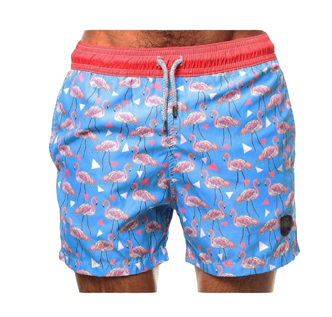 Hajotrawa Mens Sport All-Match Beach Elastic Waist Slim Fit Printed Short