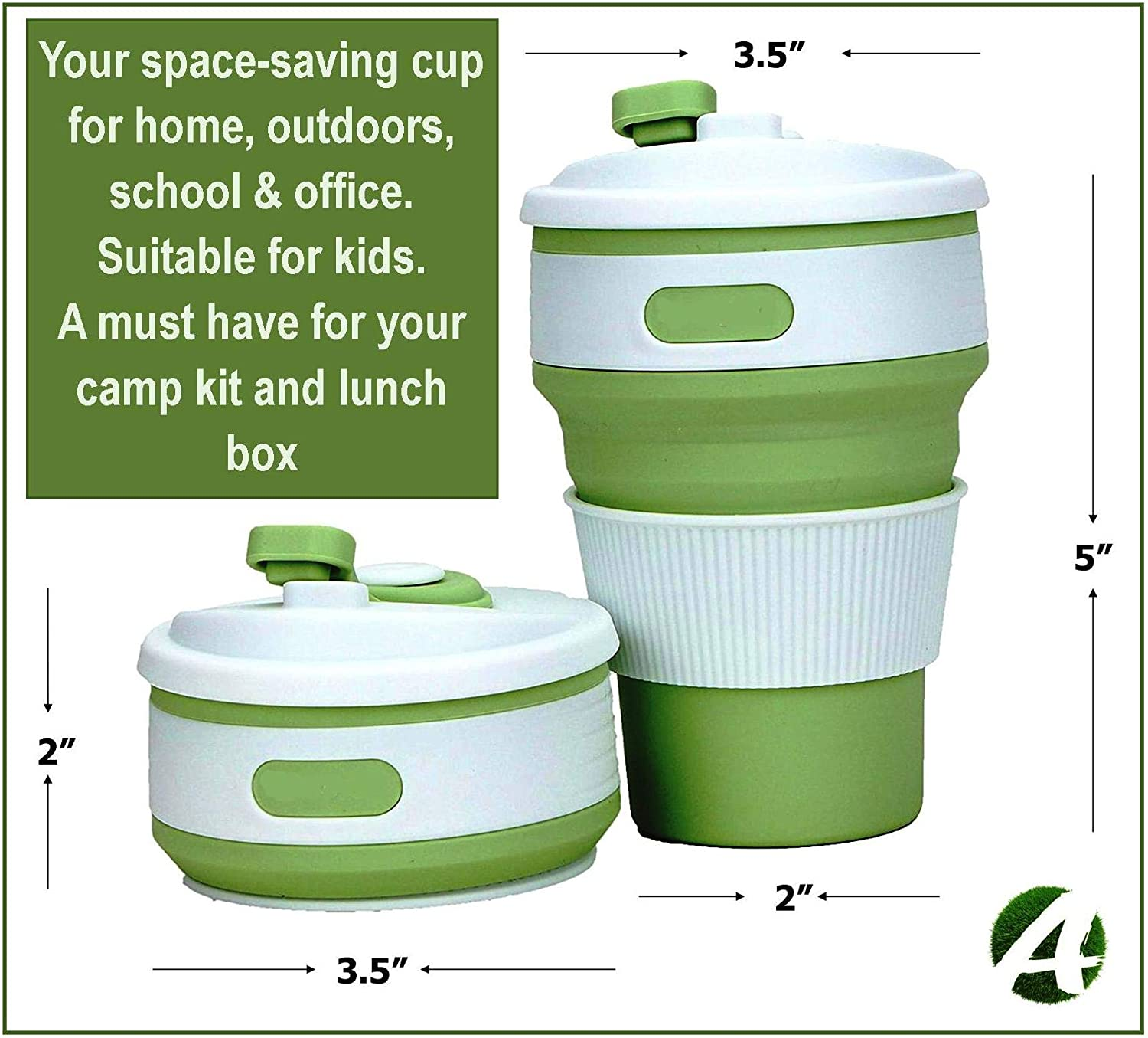 Tea AVALEISURE Collapsible Coffee Mug Soft Drinks Picnic Travel Ideal for Camping Hiking Lunch Coffee a Foldable 12oz Drinking Cup with Lid for Water