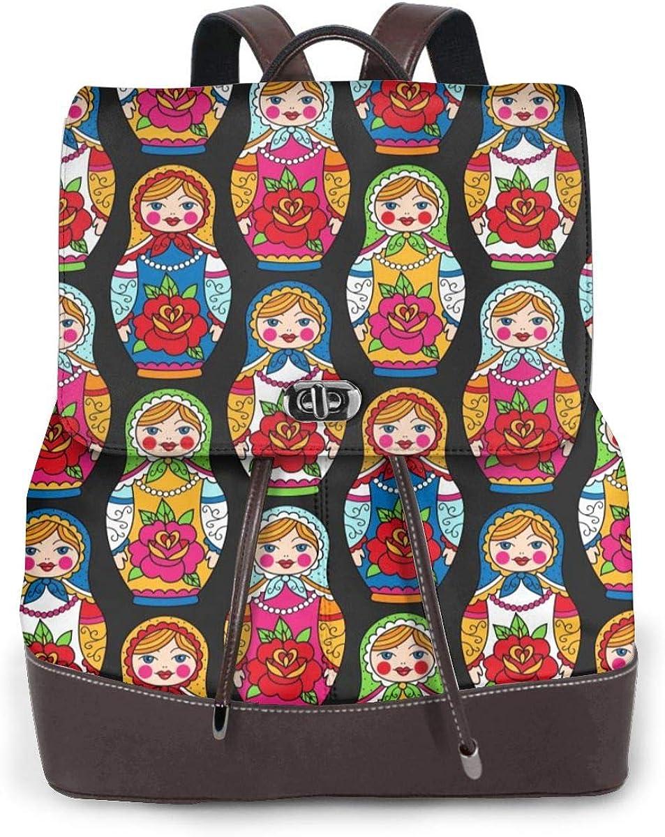 Mini sac à dos à bandoulière en cuir véritable pour femme Poupée Russe.