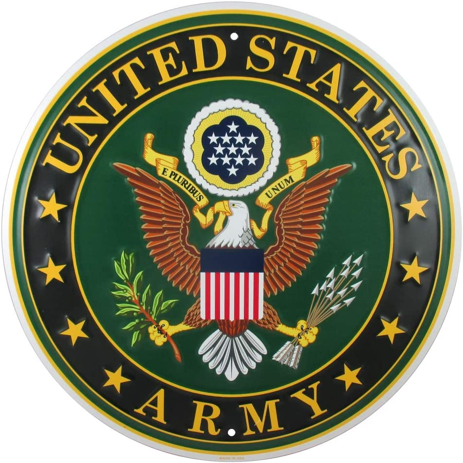 Tags America United States Army Logo Metal Sign, 12 Inch Round Embossed Aluminum Emblem, US Military Service Branch Wall Decor