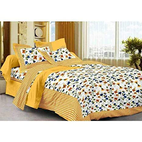 00bb2aa8bcc Ealth Kart 144 TC 100% Cotton Rajasthani Jaipuri Double Bedsheet with 2  Pillow Covers - Yellow  Amazon.in  Home   Kitchen