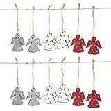 12 Stück kleine Holz-ENGEL Weihnachts-ANHÄNGER GRAU WEISS ROT 6 cm mit Schnur als Christbaumschmuck mit Sternchen Baumschmuck Christbaumanhänger Geschenkanhänger - Weihnachtsdeko zum Aufhängen