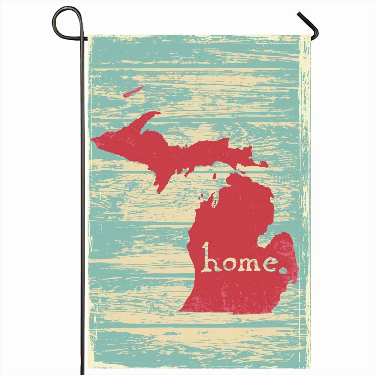 "Ahawoso Outdoor Garden Flags 12""x18"" Inch Map Local Michigan Nostalgic Rustic Vintage State Patriot America American Americana Area Vertical Double Sided Home Decorative House Yard Sign"