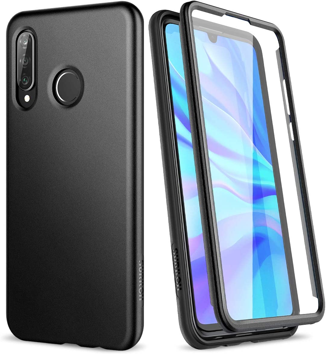 SURITCH Case for Huawei P30 Lite,[Built-in Screen Protector] Marble Shockproof Rugged 360 Full Body Bumper Protective Cover for Huawei P30 Lite