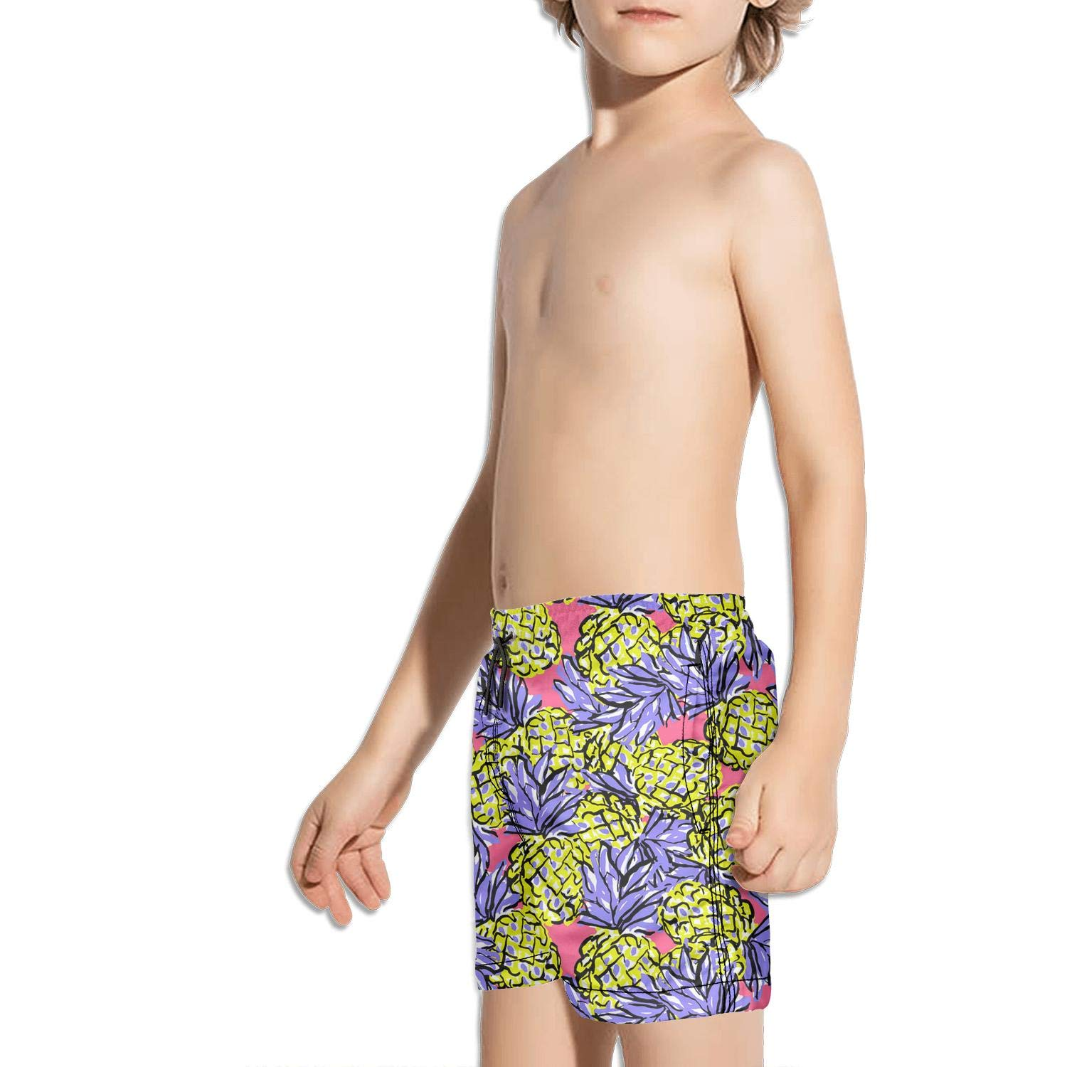 LKIMNJ Boys Board Shorts Colorful Pineapple Fruit Stipes Quick Dry Bathing Suits Beach Board Shorts