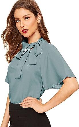 SheIn Blusa de manga corta con cuello de lazo lateral para mujer