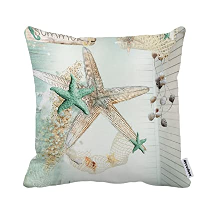 Amazon Decorbox Summer Starfish Coral Shell White 40X40 Inch Impressive Pillow Case Covers For Throw Pillows