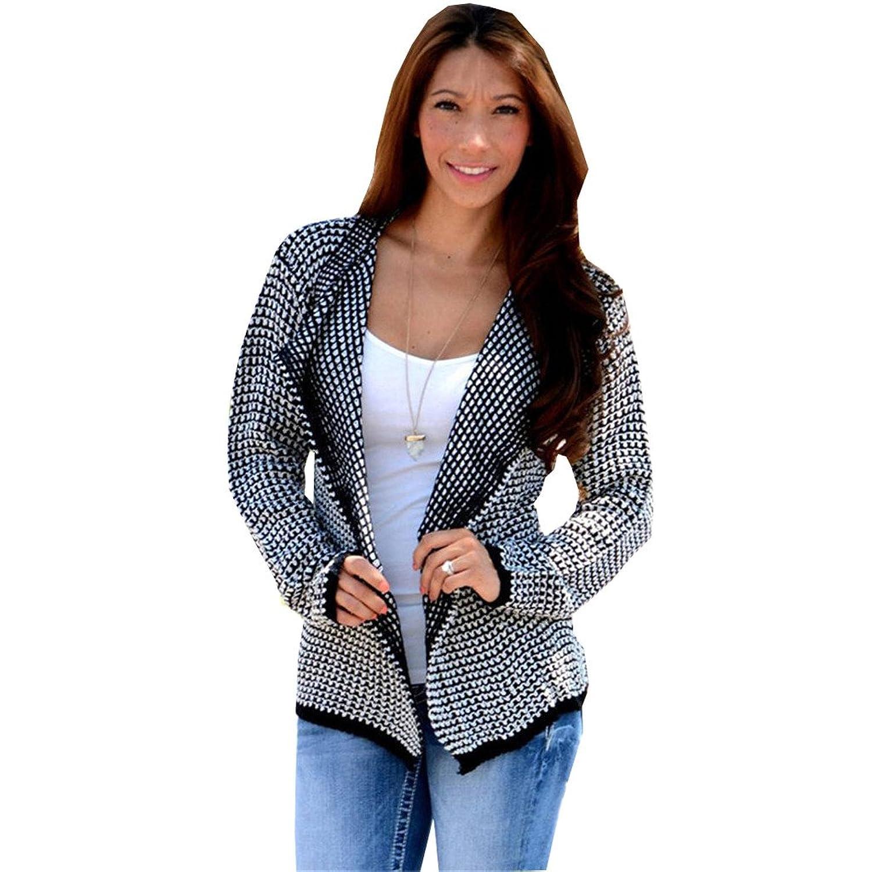 Gloshop Women's Casual Collarless Long Sleeve Khaki Knitted Cardigan