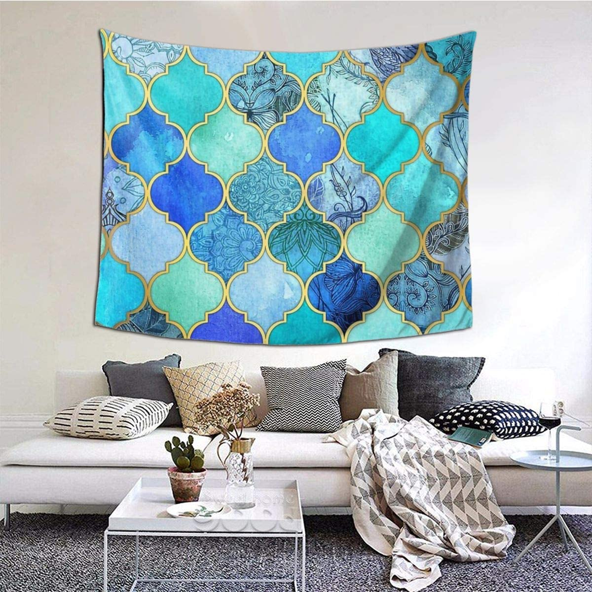 Amazon Com Newhe Cobalt Blue Aqua Gold Decorative Moroccan Wall Hanging Tapestries Decor For Living Room Bedroom Dorm Room 60 X 51 Inches Home Kitchen