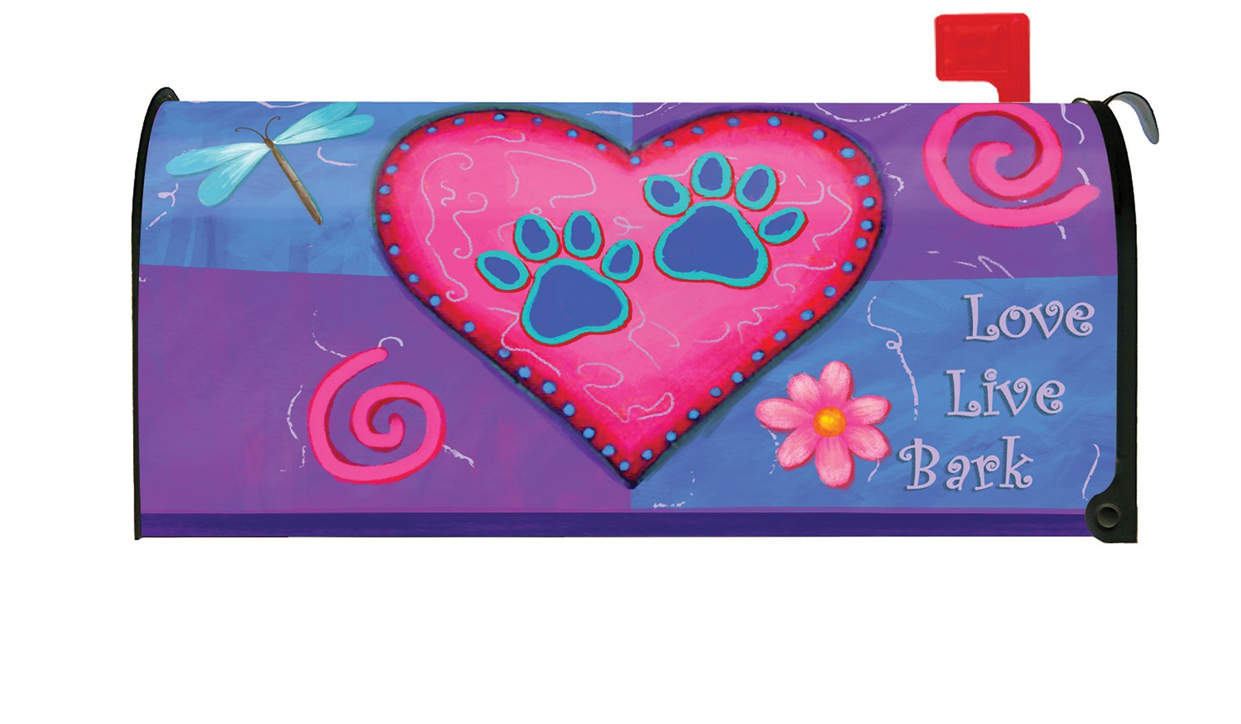 Toland Home Garden Love Live Bark Puppy Dog Heart Paw Magnetic Mailbox Cover