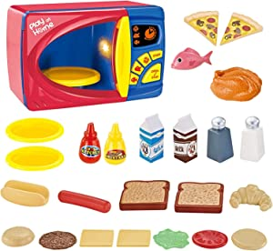 TOYSBBS Kids Microwave Oven Toy Electronic Pretend Microwave Play Just Like Home My First Kitchen Appliance for Toddlers