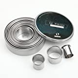 SurgeHai 12 Piece Round Cookie Cutter Set, Donut Cutter Set, Stainless Steel Circle Fondant Molds For Dough Pastry Biscuits E