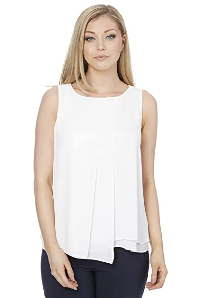 01a322b9276b7 Roman Originals Women Double Layer Wrap Asymmetric Top - Ladies Light  Sleeveless Tops - Female Office Smart Summer Going Out Evening Holiday  Blouse Vest  ...