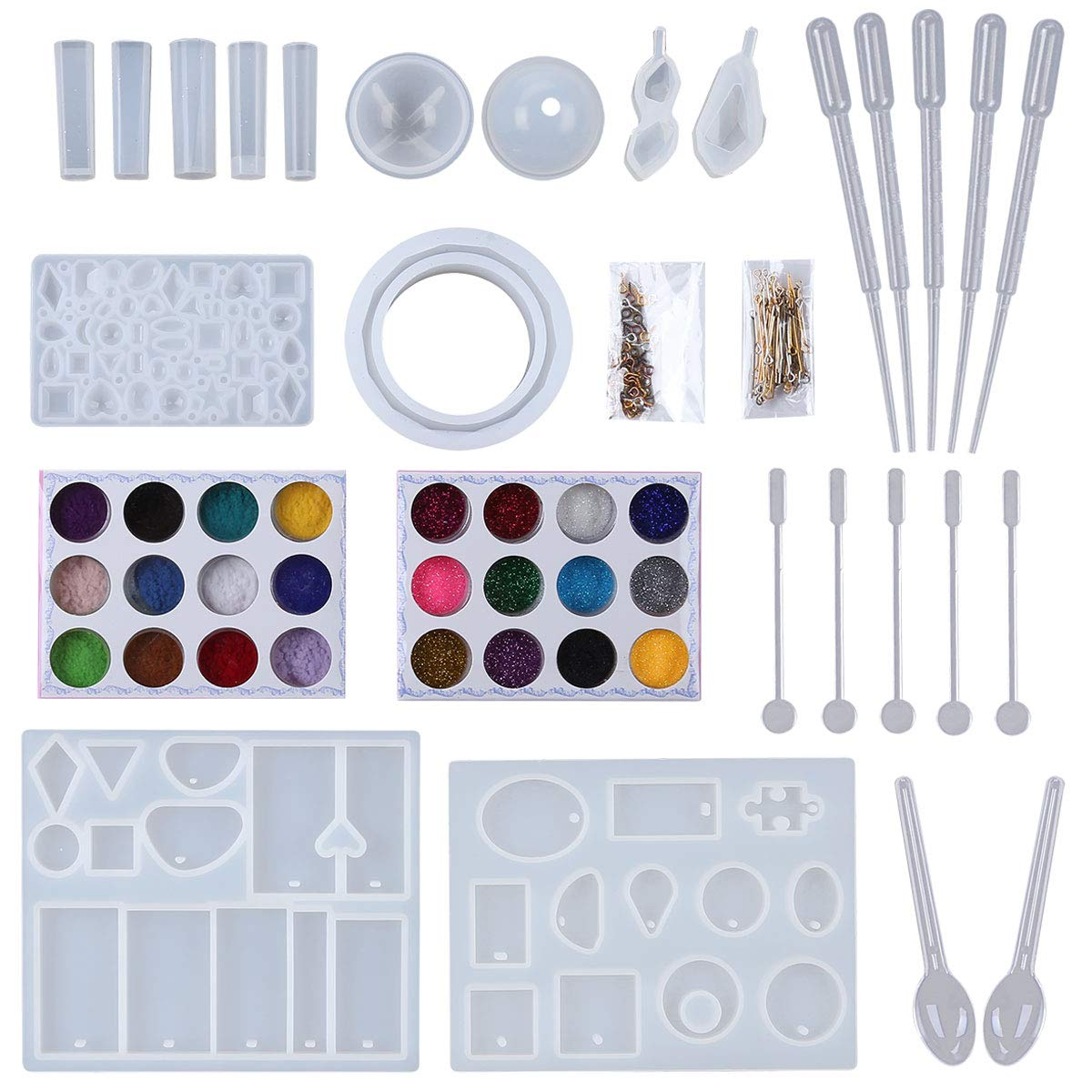 8 Pack Jewelry Resin Casting Molds Styles Pendant Silicone Mold for DIY Jewelry Craft Making, Come with 120 PCS Jewelry Screw Open Eye Pins Dropper Plastic Spoon Nail Art Glitter Powder Tbestmax