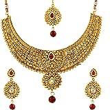 Zeneme Gold-Plated Choker Necklace, Drop Earring & Mangtika Set for Women