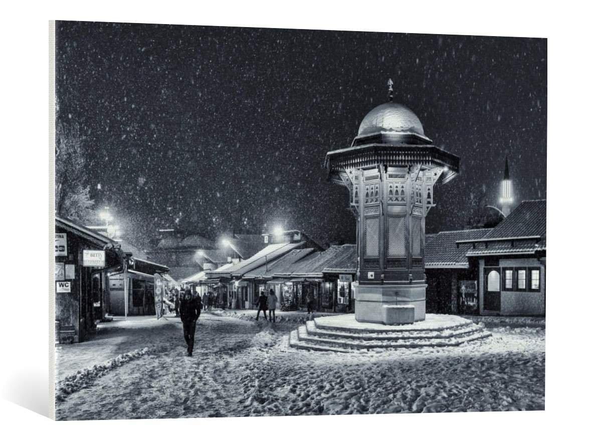 kunst für alle Leinwandbild: Bez Dan Winter in Sarajevo ...