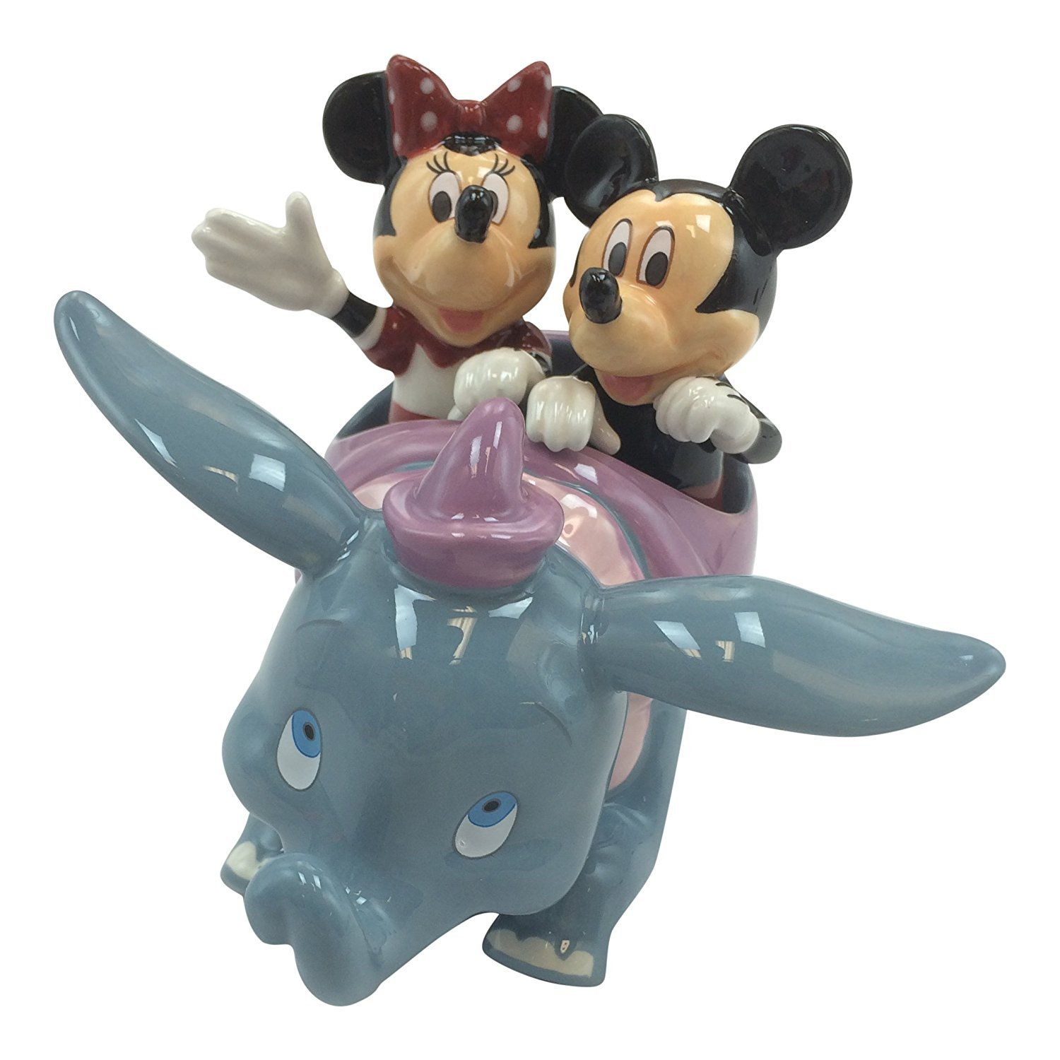 Disney Parks Mickey Minnie Mouse Dumbo Flying Elephant Ride Figurine Salt Pepper Shakers by Disney
