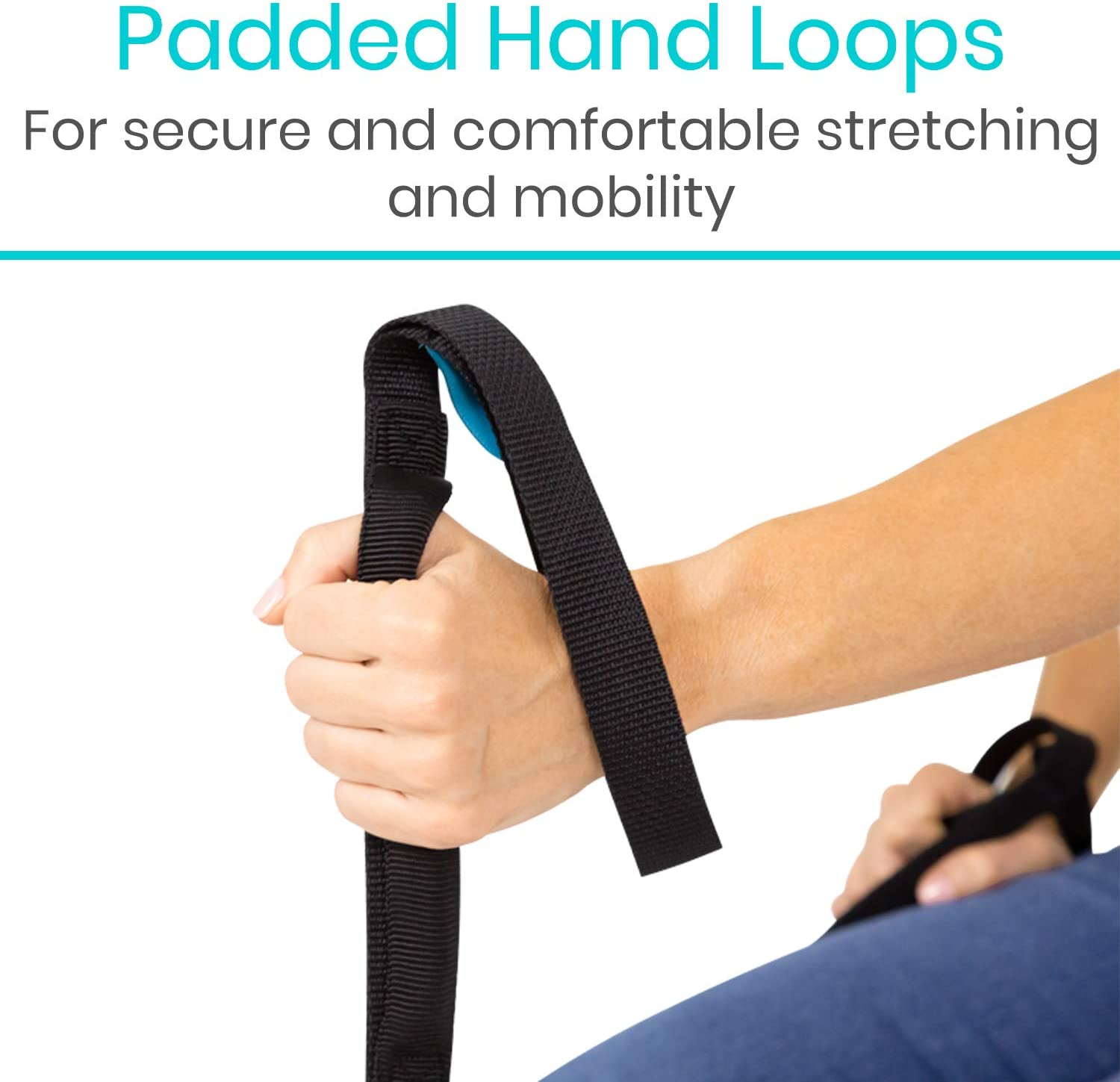Vive Proflex Strap - Leg Lifter Assist with Nylon Webbing for Recovery, Stretching - Feet Loop with Hand Grips - Lift and Stretch Foot, Calf - Rigid for Elderly, Handicapped, Injury, Car and Bed: Health & Personal Care