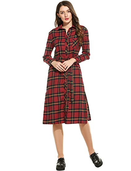 fa821c3c57e5b4 ANGVNS Women's Classic Plaids Long Sleeves Side Slit Pockets Casual Belted  Midi Shirt Dress