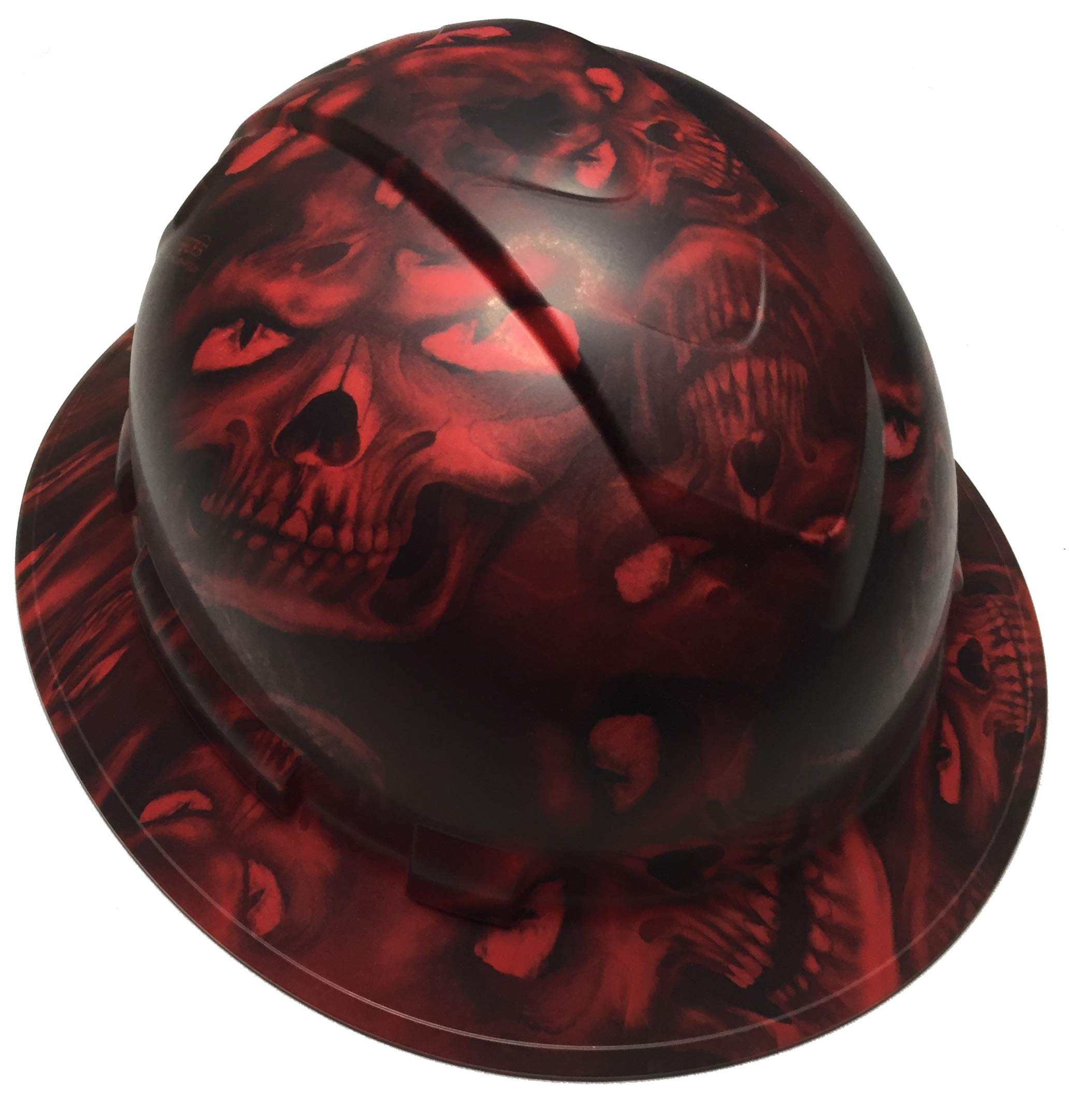 Hard Hat Ridgeline Full Brim Custom Red Hades Skulls Satin