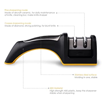Deik afilador de Cuchillos, affûteurs Accesorios Knife Sharpener en 3 etapas: Conector de Arena de esmeril, tungsteno Acero, cerámica