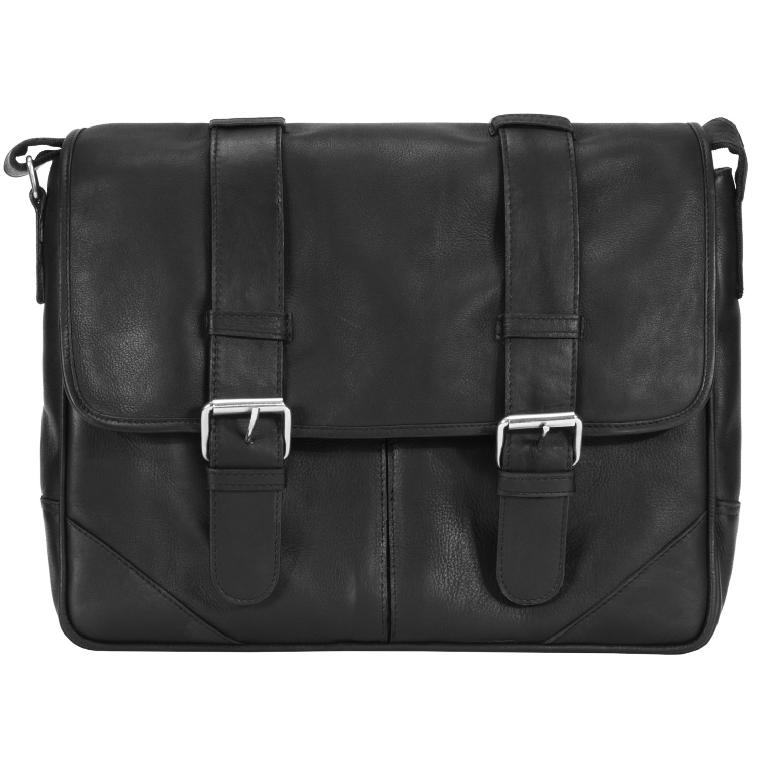 Muiska Leather 15'' Laptop Computer Messenger Bag Shoulder Crossbody Sling Briefcase with Removable PC Sleeve, Black